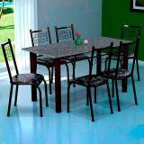 Conjunto Mesa Lisboa e 6 Cadeiras Lisboa Preto & Preto Floral