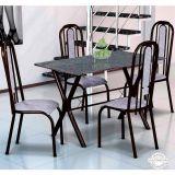 Conjunto Mesa Miame e 4 Cadeiras Granada Preto & Cinza
