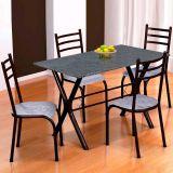 Conjunto Mesa Miame e 4 Cadeiras Monaco Preto & Cinza