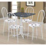 Conjunto de Mesa Malaga com 4 Cadeiras Alicante Branco Floral
