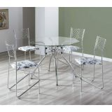 Conjunto de Mesa com 4 Cadeiras Cromado & Damasco Branco Delta Brastubo
