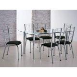 Conjunto de Mesa com 6 Cadeiras Cromado & Camurça Preto Moscou Brastubo