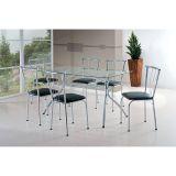 Conjunto de Mesa com 6 Cadeiras Cromado & Preto Braga