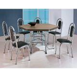 Conjunto de Mesa com 6 Cadeiras Cromado & Preto Califórnia