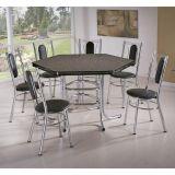 Conjunto de Mesa com 6 Cadeiras Cromado & Preto Toronto Brastubo