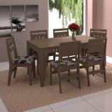 Conjunto de Mesa com 6 Cadeiras Toscana Marrom