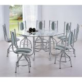 Conjunto de Mesa com 8 Cadeiras Cromado & Listrado Verde Hungria Brastubo