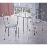 Conjunto de Mesa e 2 Cadeiras Coimbra Branco & Cromado