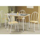 Conjunto de Mesa e 4 Cadeiras Cristal Branco & Bege
