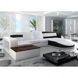 Sofá 5 Lugares Com Chaise Esquerdo Branco & Preto - Miami