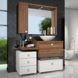 Armário Vicenza Para Banheiro Sem Cuba Branco Com Nogal Esevilha Celta Móveis