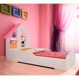 Cama Infantil Casinha Branco e Rosa
