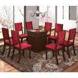 Conjunto Sala de Jantar Julia Com 8 Cadeiras Chocolate & Cereja Viero Móveis