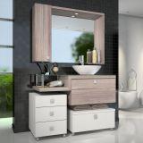 Conjunto Vicenza Para Banheiro Branco Com Nogal e Griss Celta Móveis