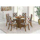 Conjunto de Mesa Com Suporte Giratório e 6 Cadeiras Avelã & Primavera Cindy Viero