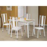 Conjunto de Mesa e 4 Cadeiras Bianca Branco & cinza