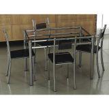Conjunto de Mesa e 4 Cadeiras Thays Prata & preto