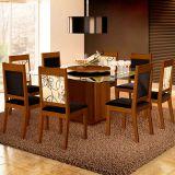 Conjunto de Mesa e 8 Cadeiras Com Tampo de Vidro Quadrado Lorena Plus