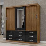Guarda-Roupa Granada 3 Portas com Espelho Imbuia & Preto Framar