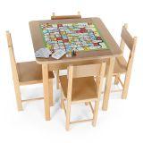 Mesa Para Recreacao MDF 5 Jogos Caixa De Papelão Colorido Carlu Brinquedos