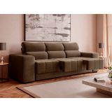 Sofá 3 Lugares Retrátil Fluence Plus Suede Capuccino   M Design