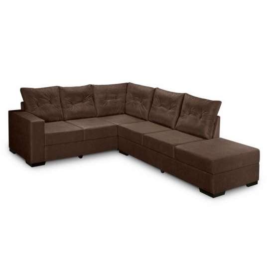 Conjunto sof de canto 5 lugares sevilha suede amassado for Sofa 5 lugares canto