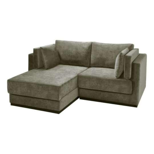sof 2 lugares com chaise maison veludo caqui