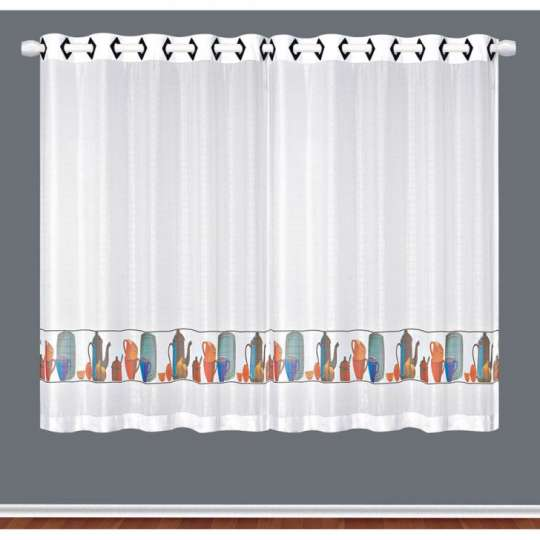 cortina para var o com ilh s cuisine 1 20x2 00 para cozinha branco e colorido. Black Bedroom Furniture Sets. Home Design Ideas