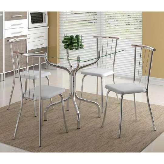 Conjunto de Mesa 393 com 4 Cadeiras 154 Branca Carraro
