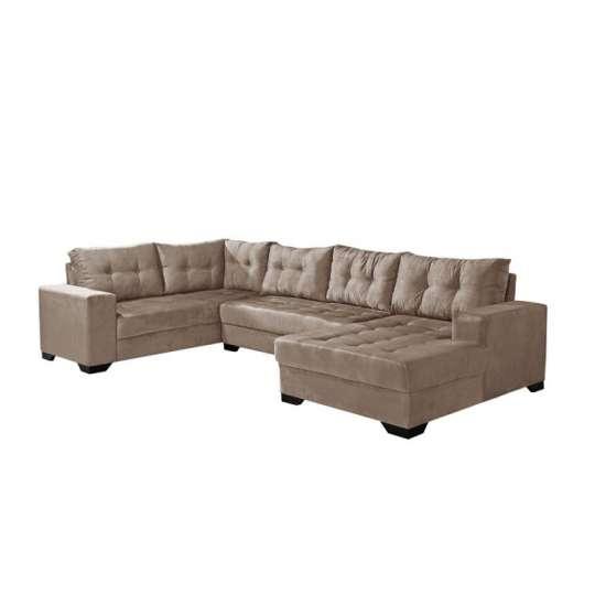 Conjunto sof de canto 5 lugares bia com chaise suede for Sofa com chaise 5 lugares