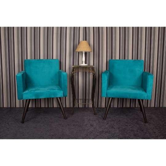 Jogo com 2 poltronas decorativas para sala de estar for Sala de estar turquesa
