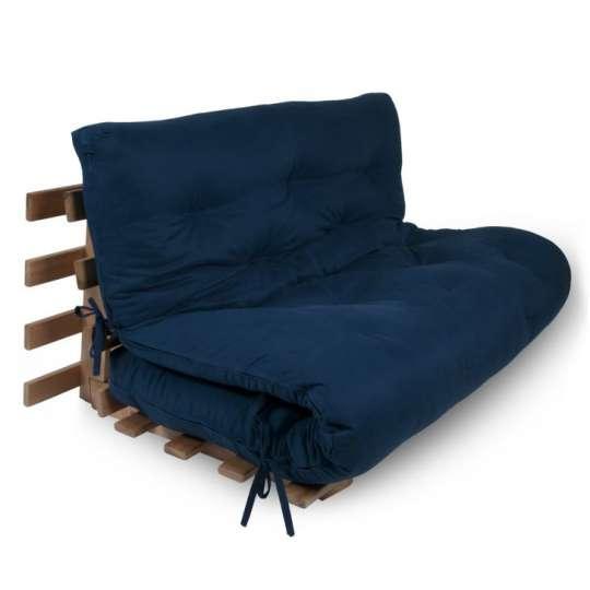 Sof cama futon japon s casal com estrutura azul marinho - Comprar futon japones ...