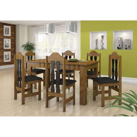 Conjunto de Mesa e 6 Cadeiras Florença Imbuia & Preto
