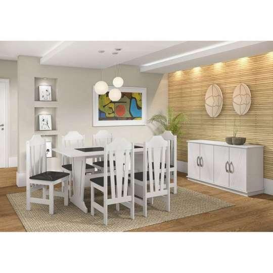 Conjunto de Mesa e 6 Cadeiras Ibiza Branco