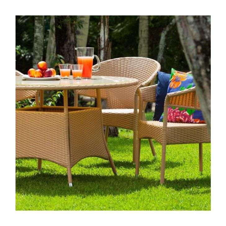 Conjunto para Jardim Alegro Com uma Mesa de Tampo de Vidro e 4 Cadeiras em Tom M Butzke