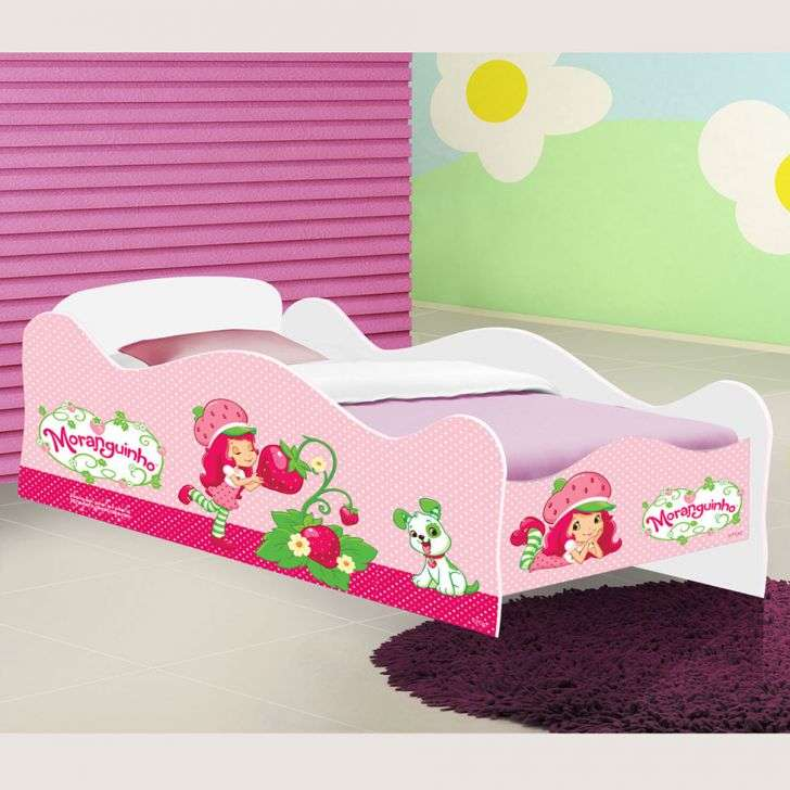 Mini Cama de menina Carro Infantil Moranguinho Rosa