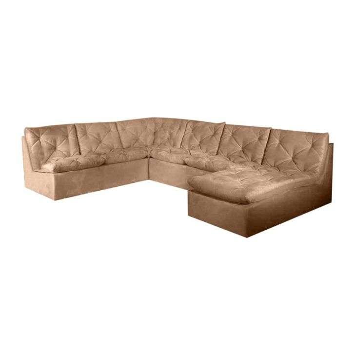 Conjunto sof ronne de canto 5 lugares com chaise long mh for Sofa 5 lugares com chaise
