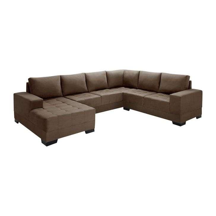 Conjunto sof 4 lugares com chaise patr cia suede liso marrom for Sofa 03 lugares com chaise