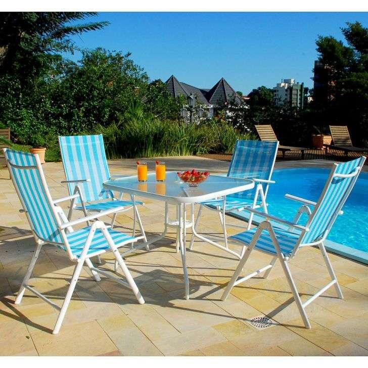 Conjunto de Jardim Marina Com 1 Mesa e 4 Cadeiras Dobráveis Azul Mobly