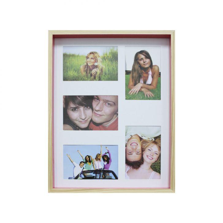 Quadro Para Fotos Wood Natural E Pink 30x40cm