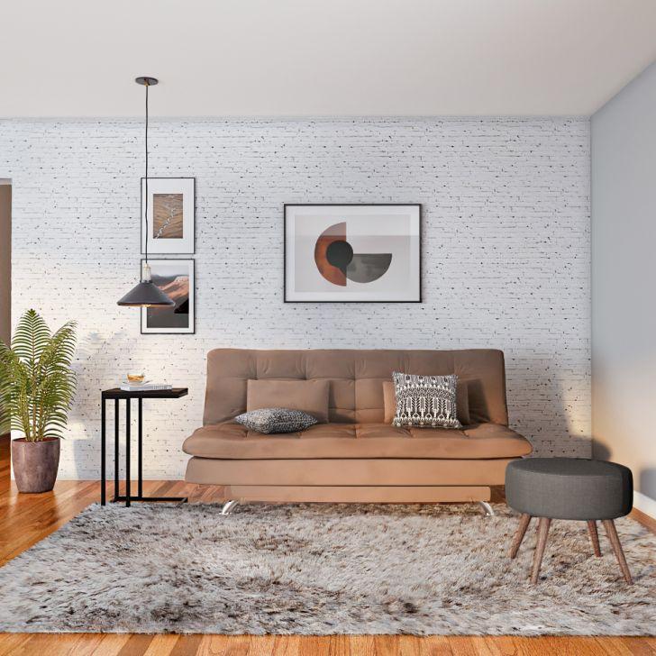 Sofá-cama 3 Lugares Casal Autenticidade Suede Marrom