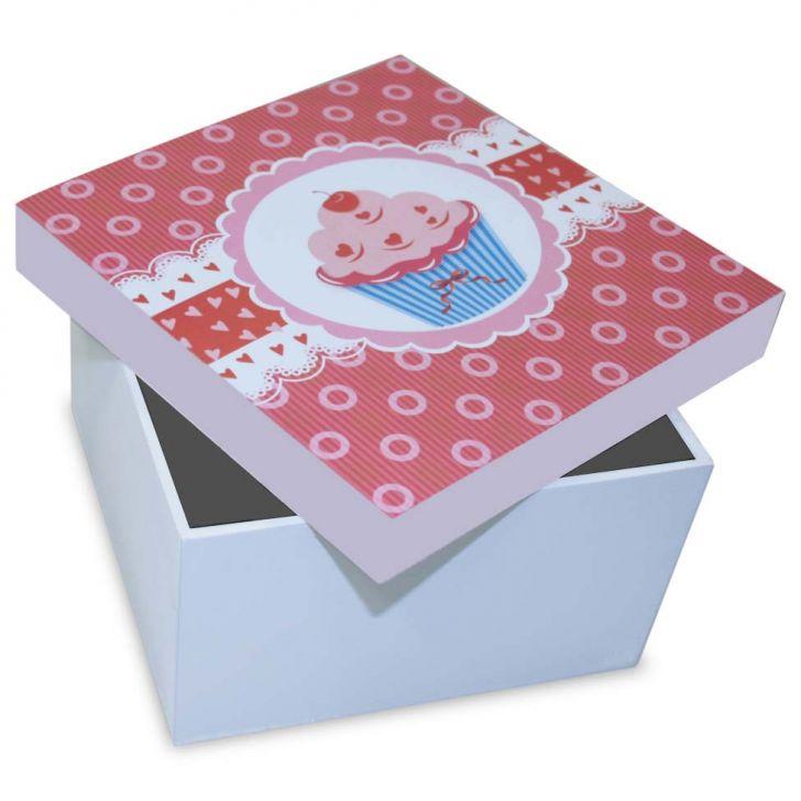 Caixa Cupcake Ii  15x15x9cm Branco Kapos