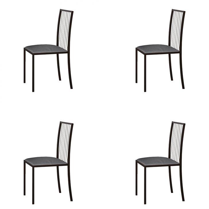 Conjunto Com 4 Cadeiras Atos Linho Cinza E Café