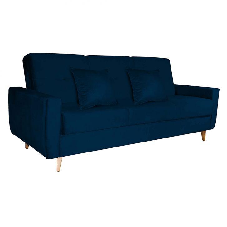 Sofá-cama 3 Lugares Com Baú Pamela Veludo Azul