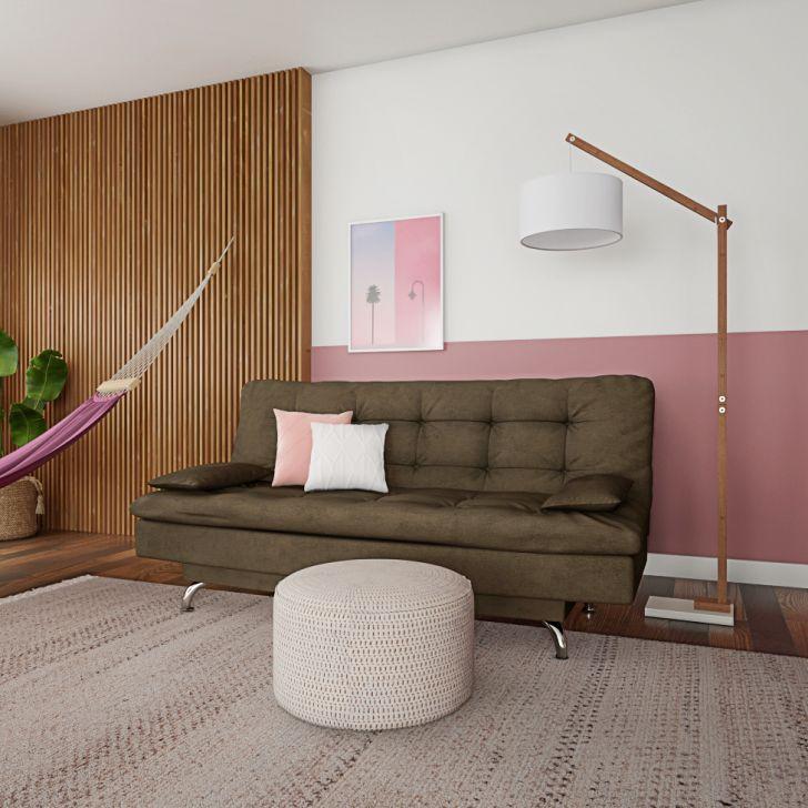 Sofá-cama 3 Lugares Casal Qualidade Suede Café
