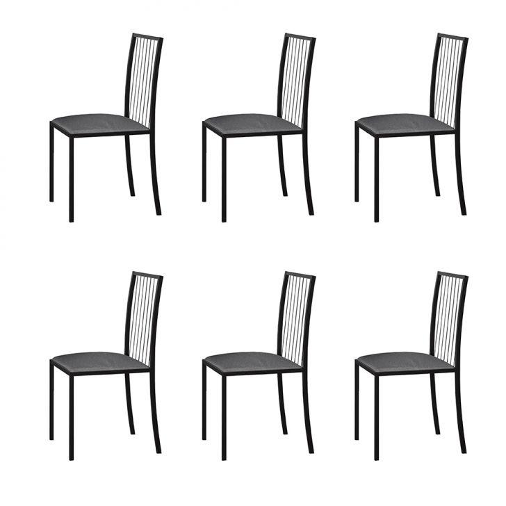 Conjunto Com 6 Cadeiras Atos Linho Cinza E Preto