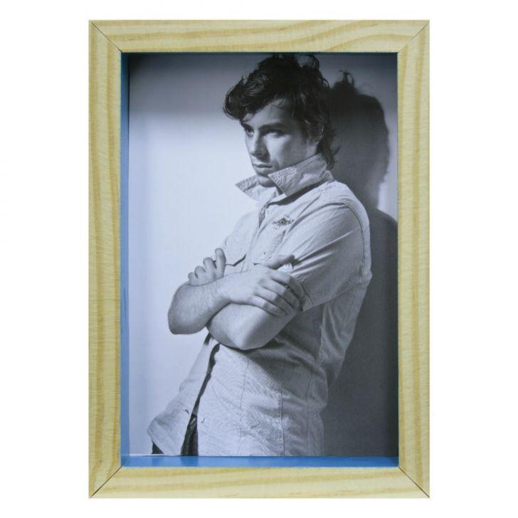 Porta-retrato Wood Natural E Turquesa 12x17cm