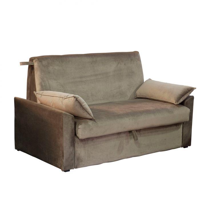 Sofá-cama Casal 2 Lugares Cristal Veludo Com Baú E Almofadas Marrom Claro