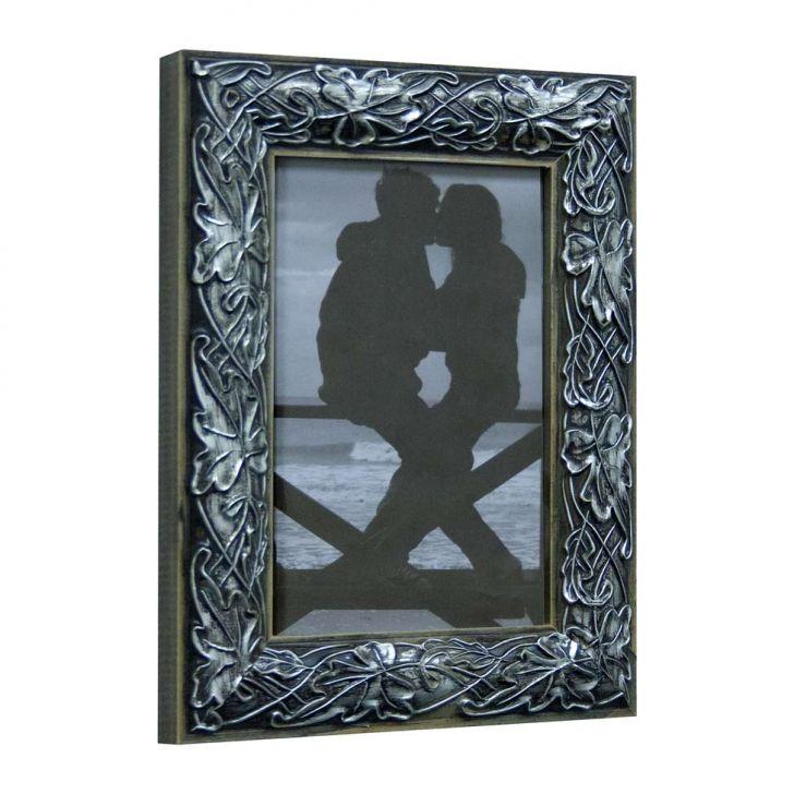 Porta Retrato De Mesa Flores Para Foto 10x15 Cm Prata