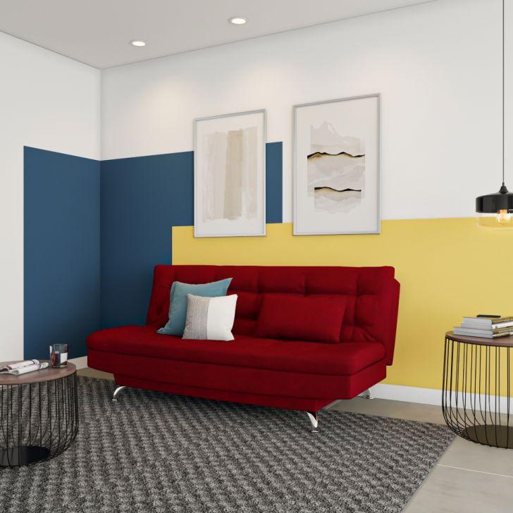 Sofá-cama Casal 3 Lugares Luxo Suede Vermelho